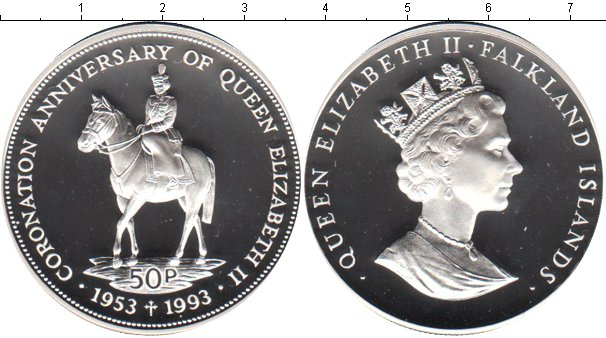 Картинка Монеты Фолклендские острова 50 пенсов Серебро 1993