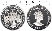 Изображение Монеты Олдерни 2 фунта 1993 Серебро Proof 40-летие коронации Е