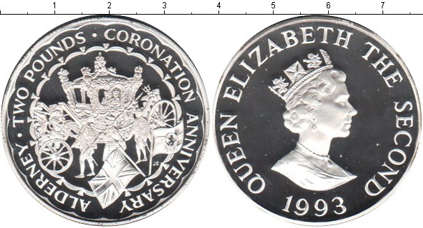 Картинка Монеты Олдерни 2 фунта Серебро 1993