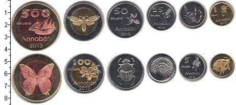 Изображение Наборы монет Аннобон Аннобон 2013 2013 Медно-никель UNC- В наборе 6 монет ном