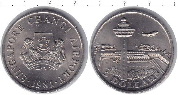 Картинка Мелочь Сингапур 5 долларов Медно-никель 1981