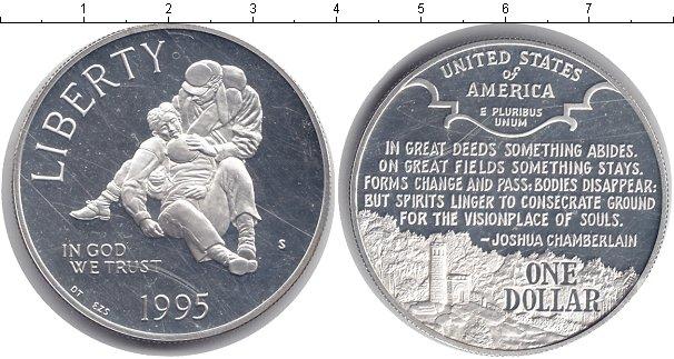 Картинка Мелочь США 1 доллар Серебро 1995