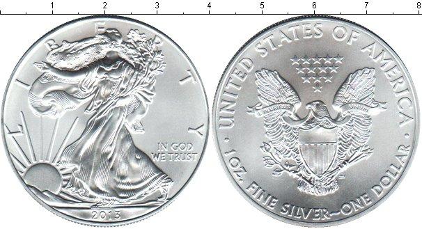 Дешевая монета сша 1 доллар серебро - 2014 год.