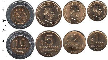 Изображение Наборы монет Уругвай Уругвай 1998-2008 0 Медь UNC В наборе 4 монеты но
