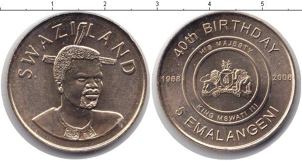 Картинка Мелочь Свазиленд 5 эмалангени Медь 2008