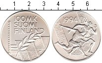 Изображение Монеты Финляндия 100 марок 1994 Серебро UNC- Стадион Дружбы