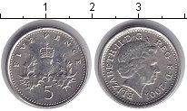 Изображение Мелочь Великобритания 5 пенсов 2001 Медно-никель XF