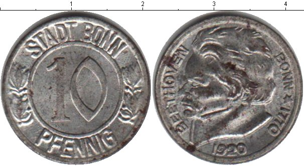 Картинка Монеты Нотгельды 10 пфеннигов Цинк 1920