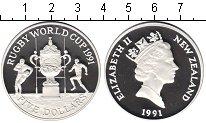 Монета Новая Зеландия 5 долларов Серебро 1991 Proof- фото