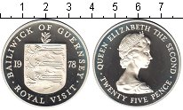 Изображение Монеты Гернси 25 пенсов 1978 Серебро Proof-