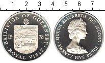 Изображение Монеты Гернси 25 пенсов 1978 Серебро Proof- Елизавета II. Короле