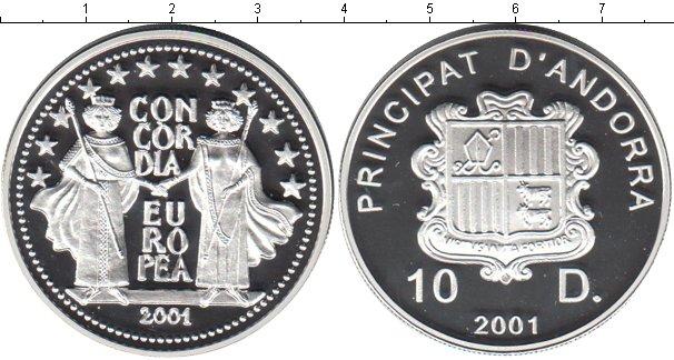 Картинка Монеты Андорра 10 динерс Серебро 2001
