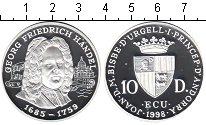 Изображение Монеты Андорра 10 динерс 1998 Серебро Proof- Георг Фридрих Гендел