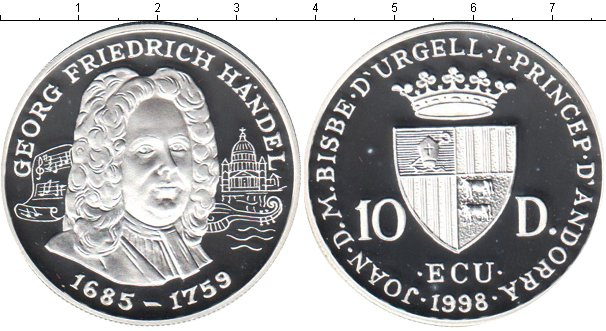 Картинка Монеты Андорра 10 динерс Серебро 1998