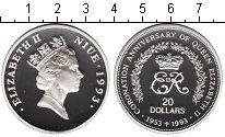 Изображение Монеты Ниуэ 20 долларов 1993 Серебро Proof- Елизавета II. 40-лет