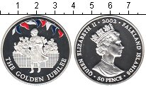 Изображение Монеты Фолклендские острова 50 пенсов 2002 Серебро Proof- Елизавета II. Золото