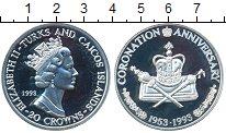 Изображение Монеты Теркc и Кайкос 20 крон 1993 Серебро Proof- Елизавета II. 40-лет