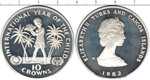 Картинка Монеты Теркc и Кайкос 10 крон Серебро 1982