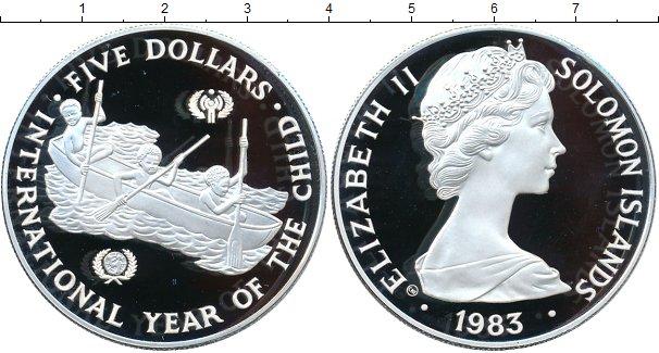Картинка Монеты Соломоновы острова 5 долларов Серебро 1983