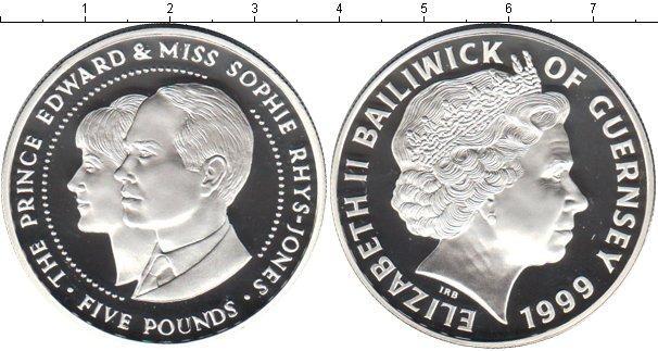 Картинка Монеты Остров Джерси 5 фунтов Серебро 1999