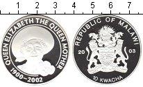 Изображение Монеты Малави 10 квач 2003 Серебро Proof- Королева мать