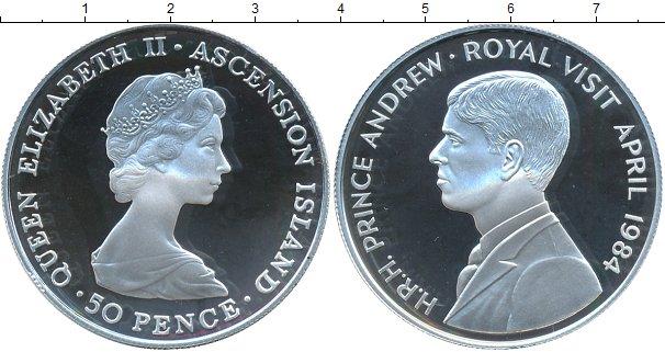 Картинка Монеты Аскенсион 50 пенсов Серебро 1984