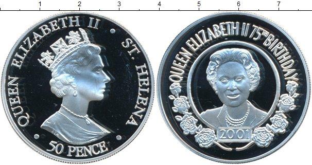 Картинка Монеты Остров Святой Елены 50 пенсов Серебро 2001