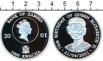 Изображение Монеты Замбия 1000 квач 2001 Серебро Proof-