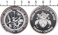 Изображение Монеты Теркc и Кайкос 20 крон 1992 Серебро Proof- Олимпийские игры 199