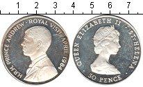 Изображение Монеты Остров Святой Елены 50 пенсов 1984 Серебро Proof- Королевский визит пр