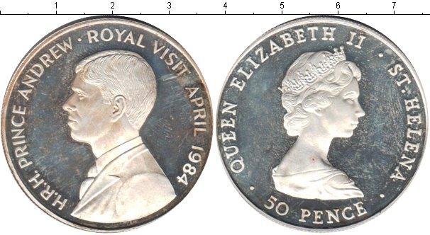 Картинка Монеты Остров Святой Елены 50 пенсов Серебро 1984