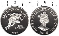 Изображение Монеты Остров Джерси 2 фунта 1986 Серебро Proof- Елизавета II.