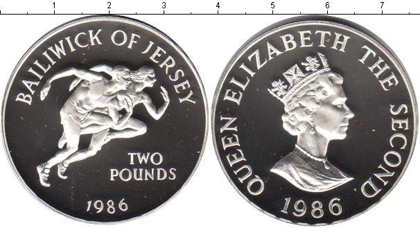 Картинка Монеты Остров Джерси 2 фунта Серебро 1986