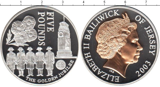 Картинка Монеты Остров Джерси 5 фунтов Серебро 2003