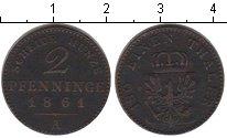 Изображение Монеты Пруссия 2 пфеннига 1861 Медь XF