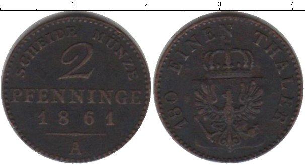 Картинка Монеты Пруссия 2 пфеннига Медь 1861