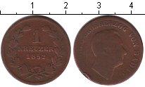 Изображение Монеты Баден 1 крейцер 1852 Медь VF Леопольд