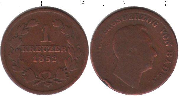 Картинка Монеты Баден 1 крейцер Медь 1852