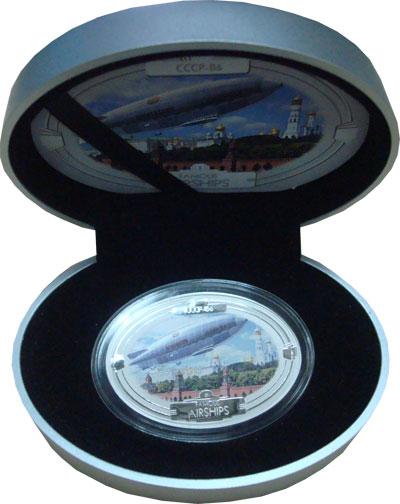 Изображение Подарочные монеты Фиджи Знаменитые дирижабли 2009 Серебро Proof `Подарочная монета н