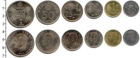 Изображение Наборы монет Испания Чемпионат мира по футболу-1982 1980  UNC- В наборе 6 монет ном