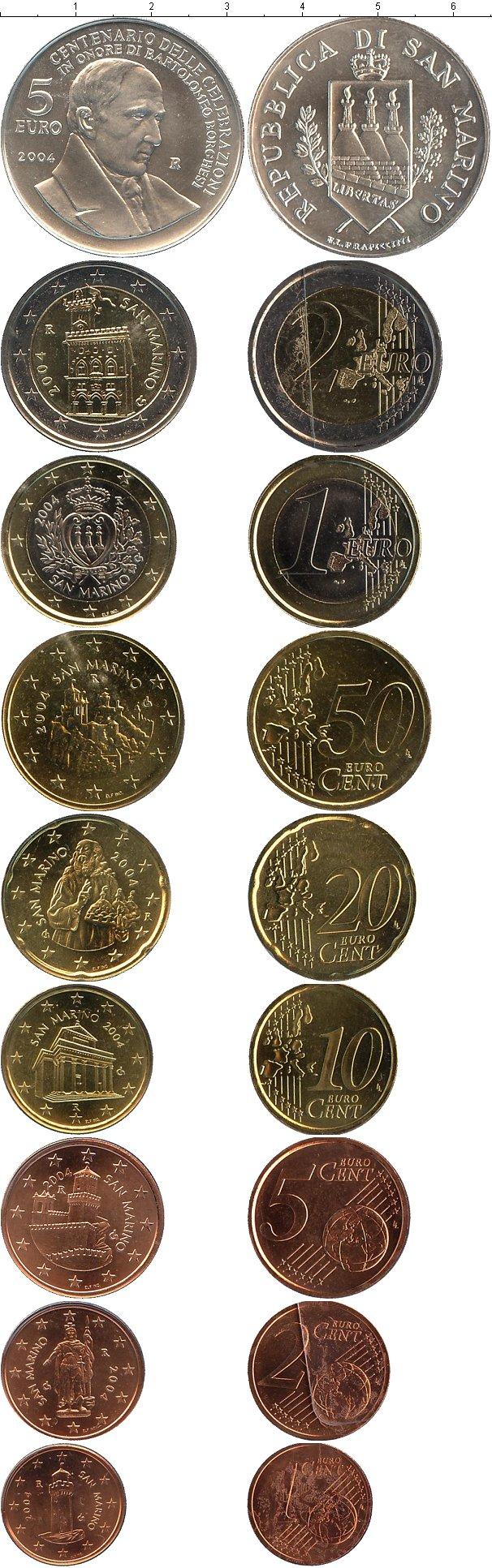 Картинка Подарочные монеты Сан-Марино Евронабор 2004  2004