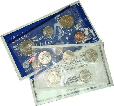 Изображение Подарочные монеты США США 2005 2005  UNC- Годовой набор монет.