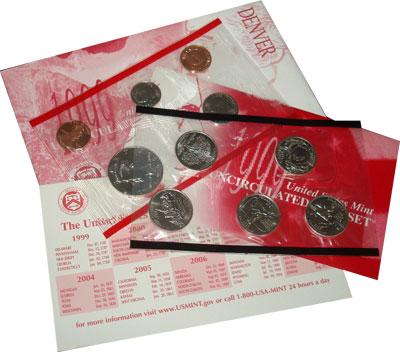 Изображение Подарочные монеты США США 1999 1999  UNC- Годовой набор монет.