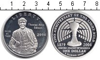 Изображение Монеты США 1 доллар 2004 Серебро Proof- Р. Томас Эдисон