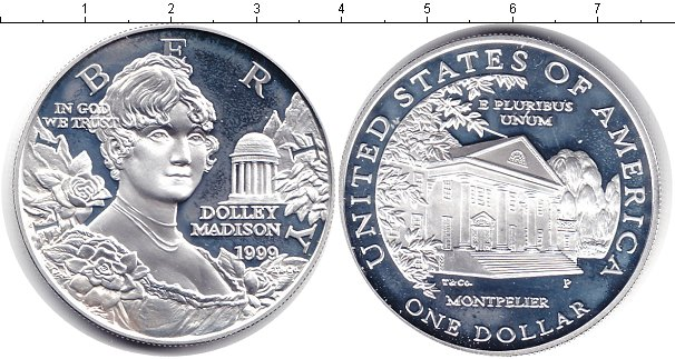 Картинка Мелочь США 1 доллар Серебро 1999