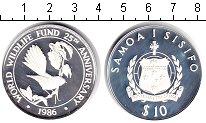 Изображение Монеты Самоа 10 долларов 1986 Серебро Proof- 25-летие международн