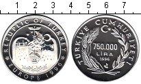 Изображение Монеты Турция 750000 лир 1996 Серебро Proof- Европа