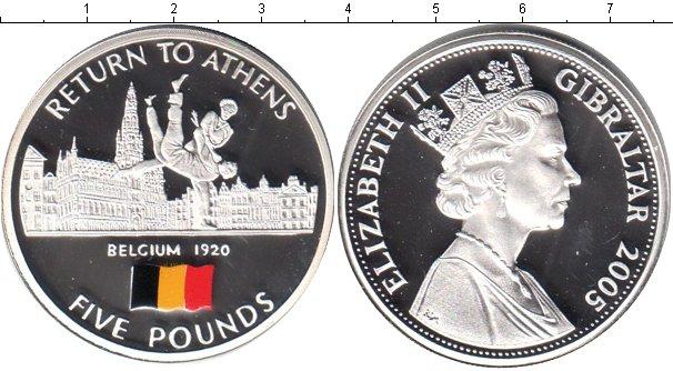 Картинка Монеты Гибралтар 5 фунтов Серебро 2005