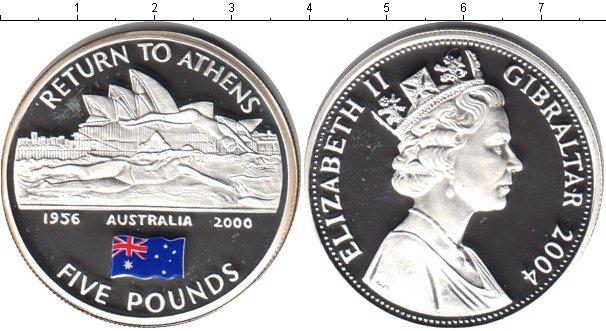 Картинка Монеты Гибралтар 5 фунтов Серебро 2004