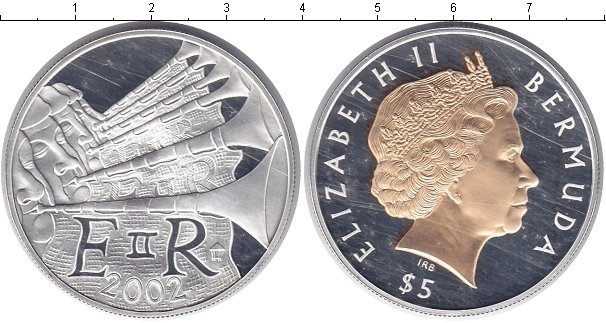 Картинка Монеты Бермудские острова 5 долларов Серебро 2002